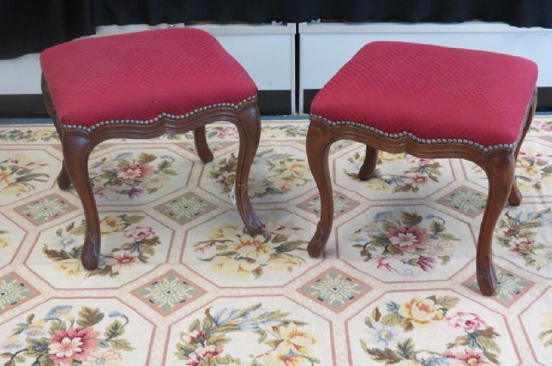 Pair of Italian Style Walnut Stools,