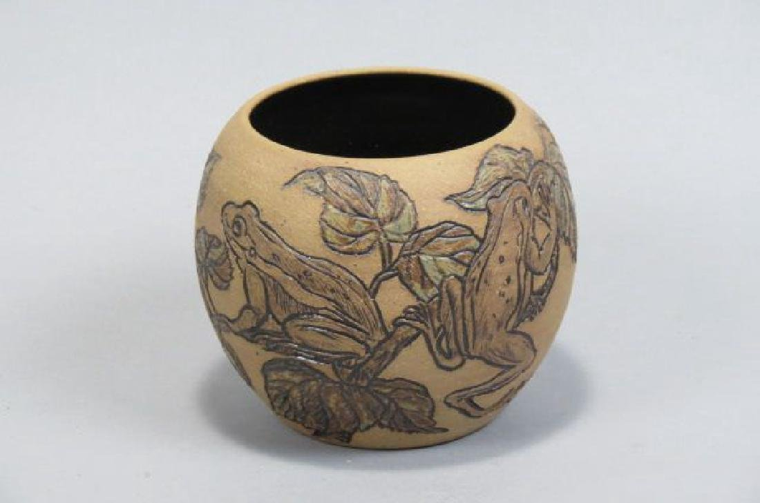 Rodney Leftwich Folk Art Art Pottery Vase,