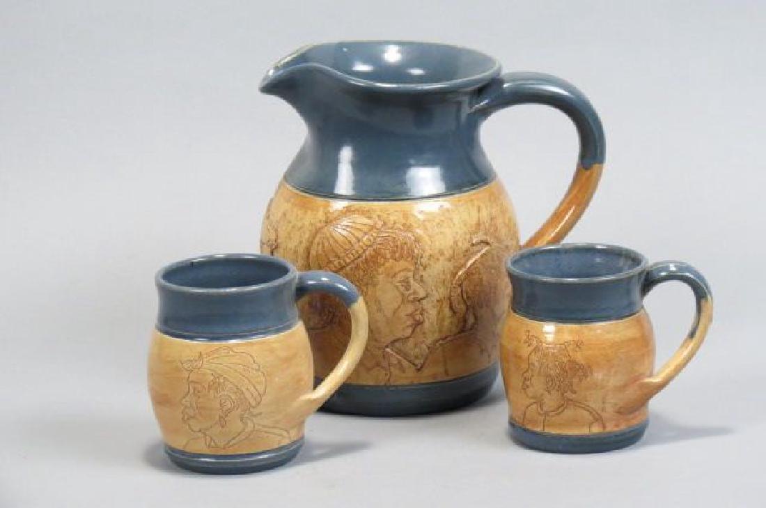 Winton-Rosa Eugene Pottery Pitcher & Mugs,