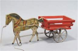 Early Gibbs Mechanical Pull Toy Horse & Cart,