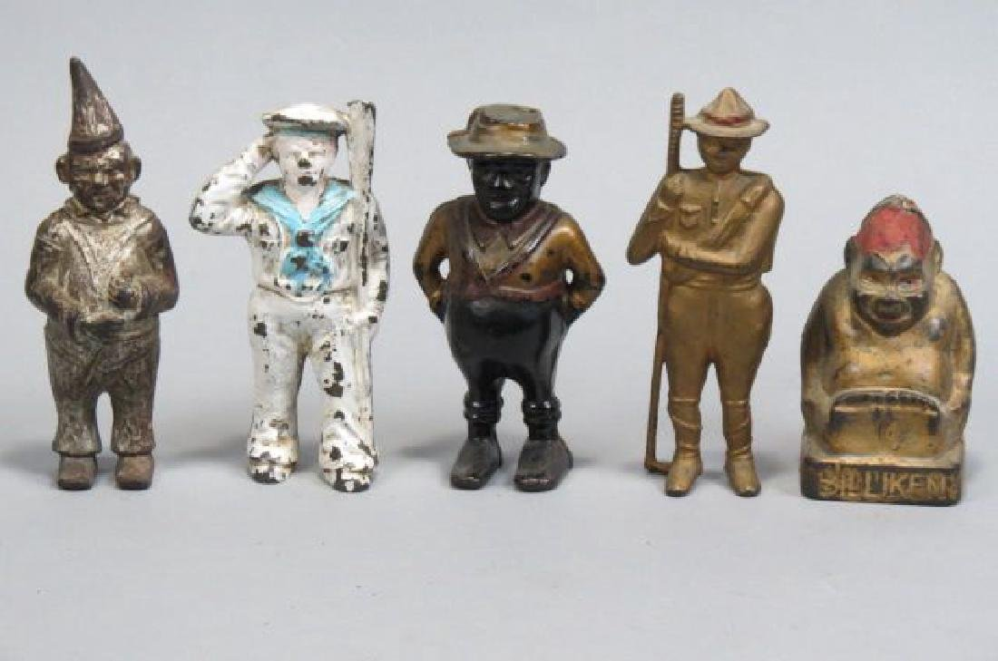 5 Figural Cast Iron Character Banks,