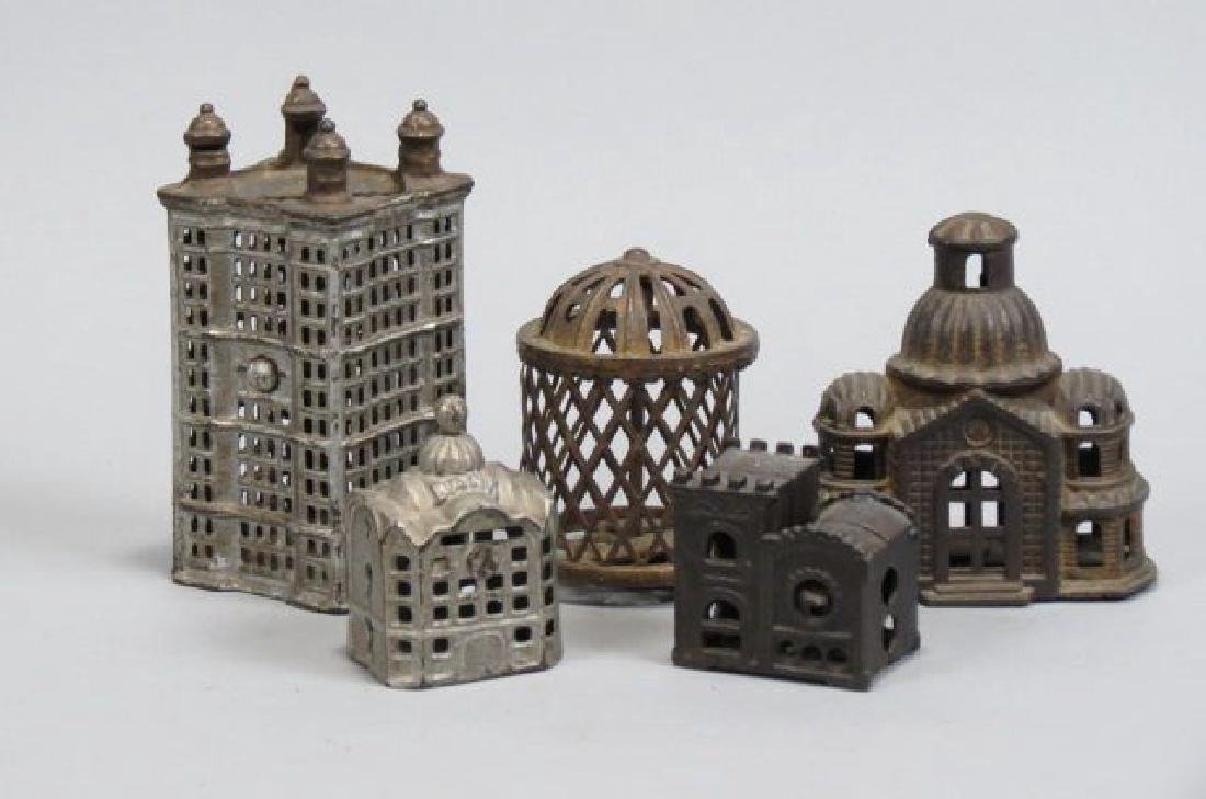 5 Figural Cast Iron Banks of Buildings & Cage,