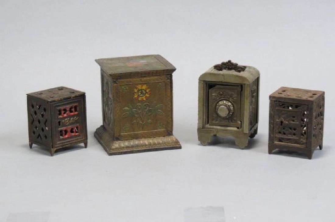 4 Figural Cast Iron Banks,