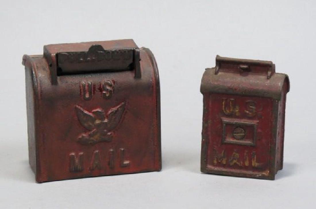 4 Figural Metal Banks of Mailboxes,