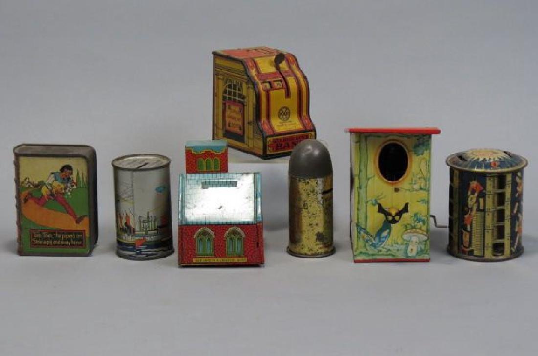 7 Tin Banks including Mechanical, 1934 Worlds Fair