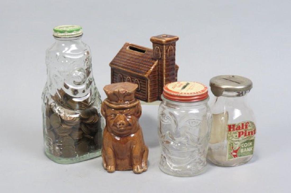 5 Pottery & Glass Banks; Jolly Joe Black Americana