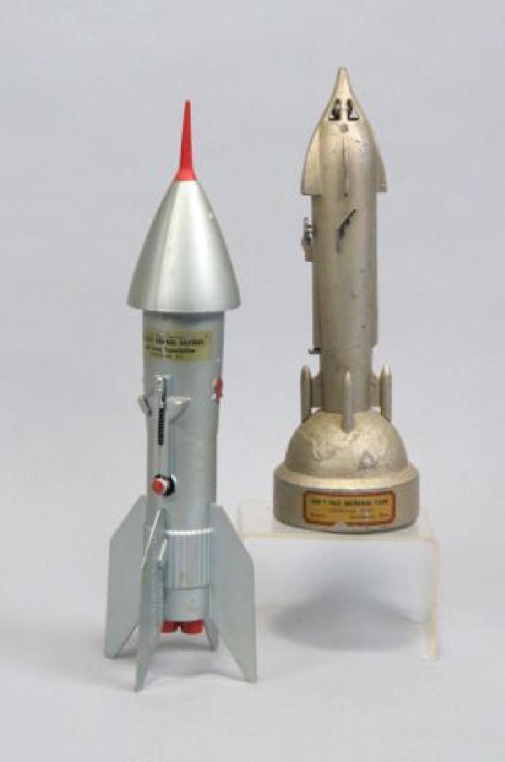 "2 Figural ""Rocket Ship"" Mechanical Metal Banks,"