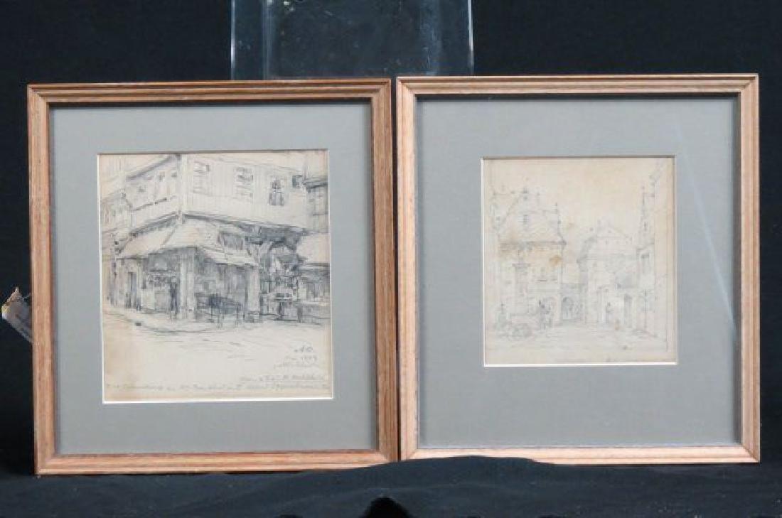 2 Alfred Nathaniel Opperheim Pencil Drawings,