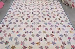 Vintage handmade Quilt, six point stars,