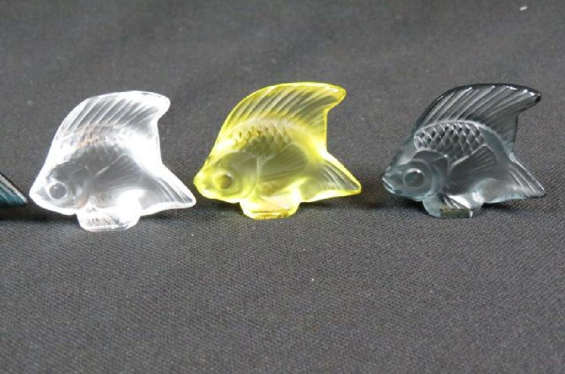 5 Lalique Crystal Figurines of Fish, - 3