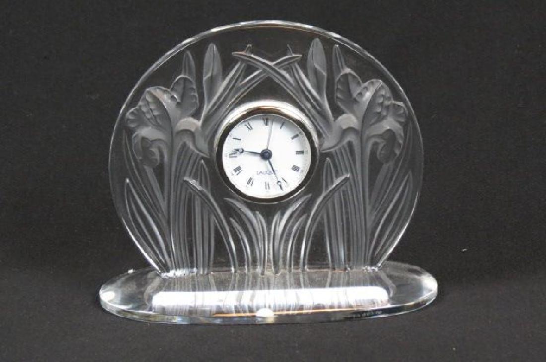 "Lalique Crystal ""Iris"" Clock,"