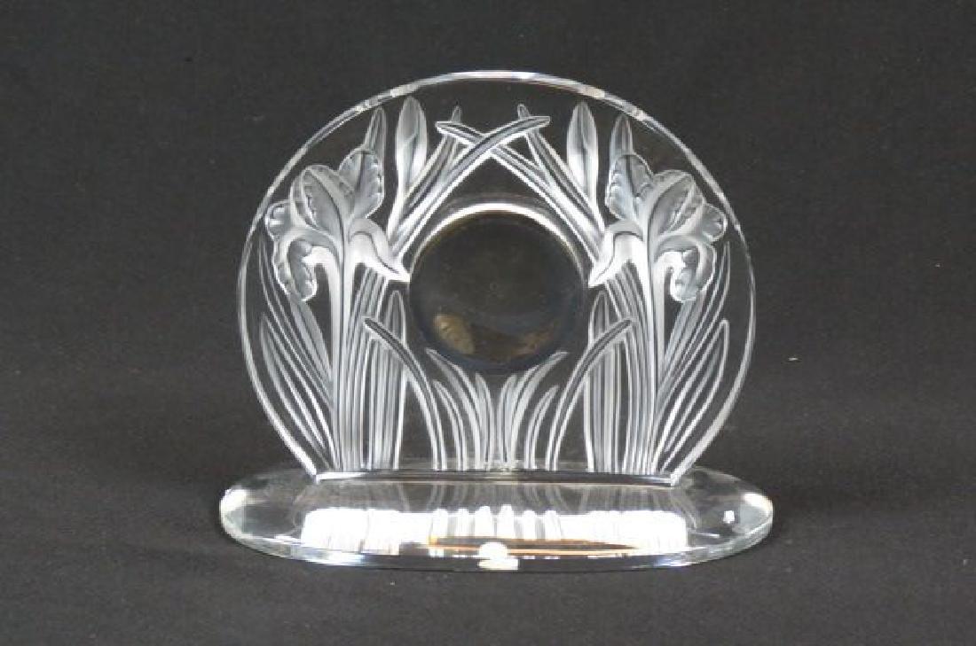 "Lalique Crystal ""Iris"" Clock, - 2"