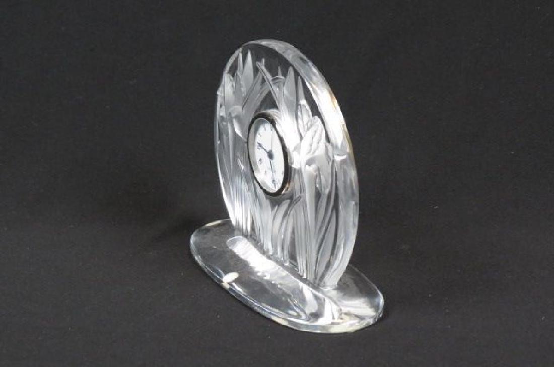 "Lalique Crystal ""Iris"" Clock, - 3"