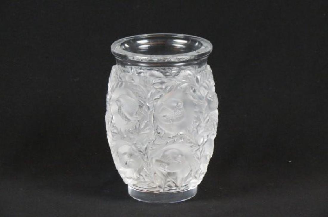 """Lalique Crystal """"Bagatelle"""" Vase, lovebirds,"""