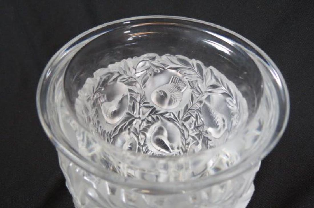 """Lalique Crystal """"Bagatelle"""" Vase, lovebirds, - 3"""