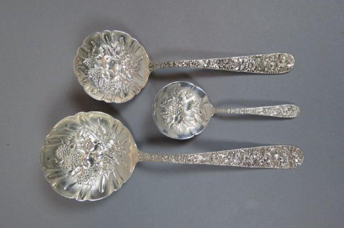 3 Kirk Repousse Sterling Serving Spoons,