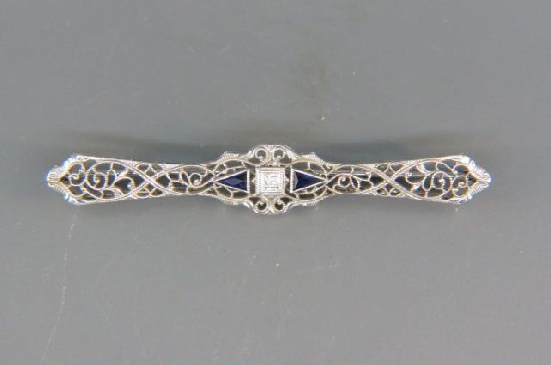Diamond & Sapphire Filigree Bar Pin,