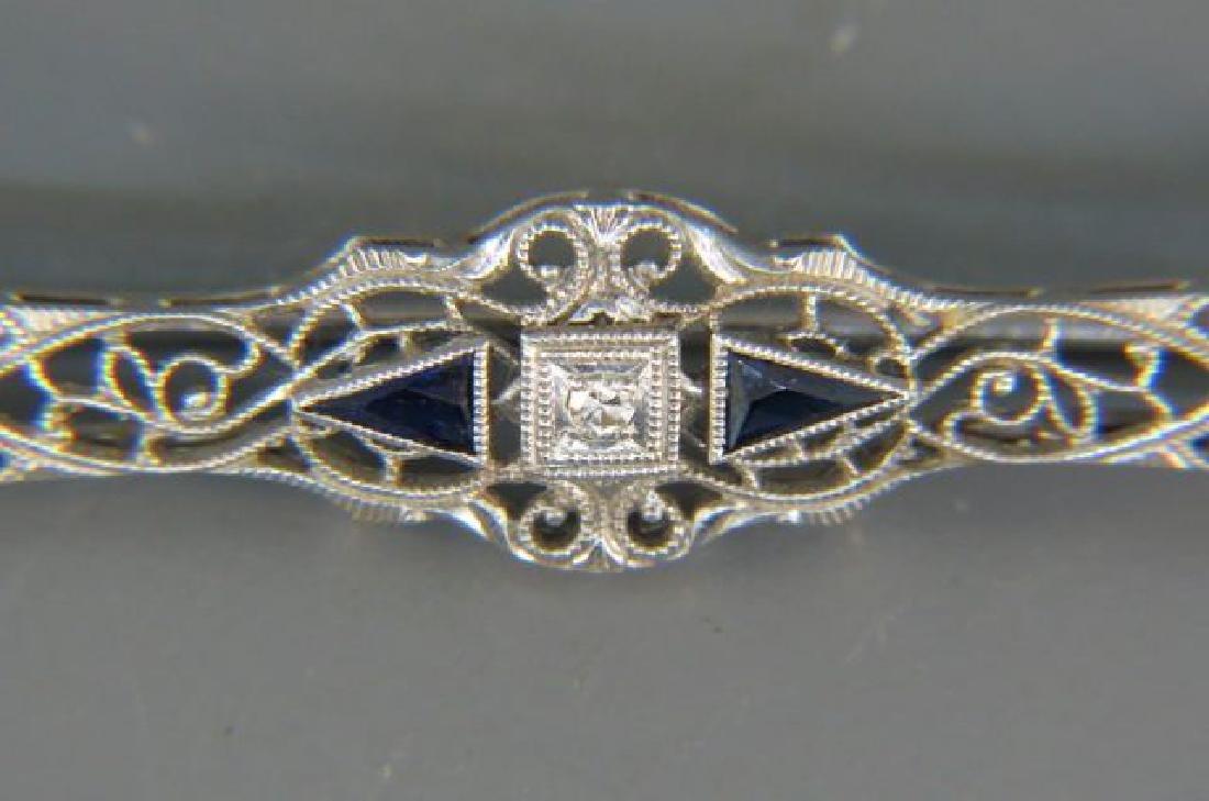 Diamond & Sapphire Filigree Bar Pin, - 2