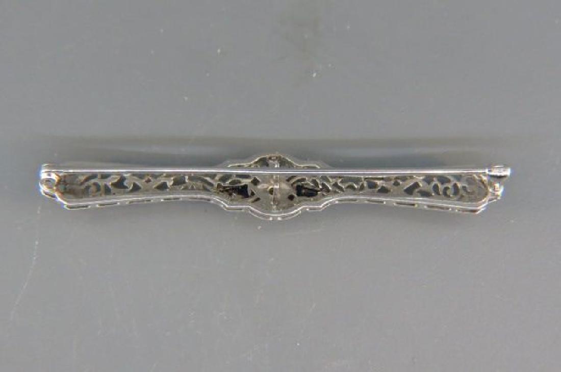 Diamond & Sapphire Filigree Bar Pin, - 3