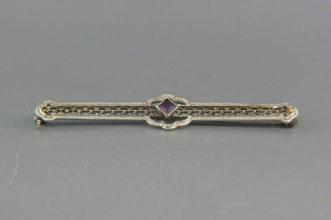 Amethyst 14K Gold Bar Pin,