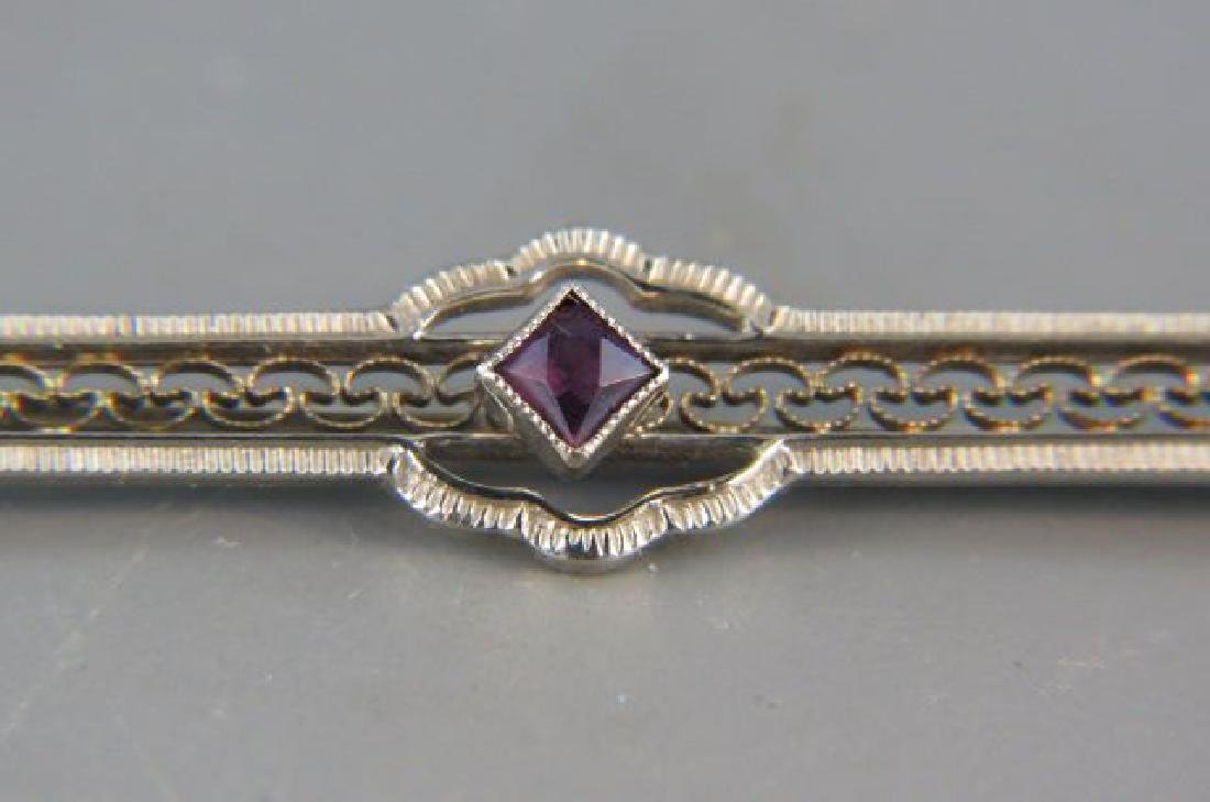 Amethyst 14K Gold Bar Pin, - 2