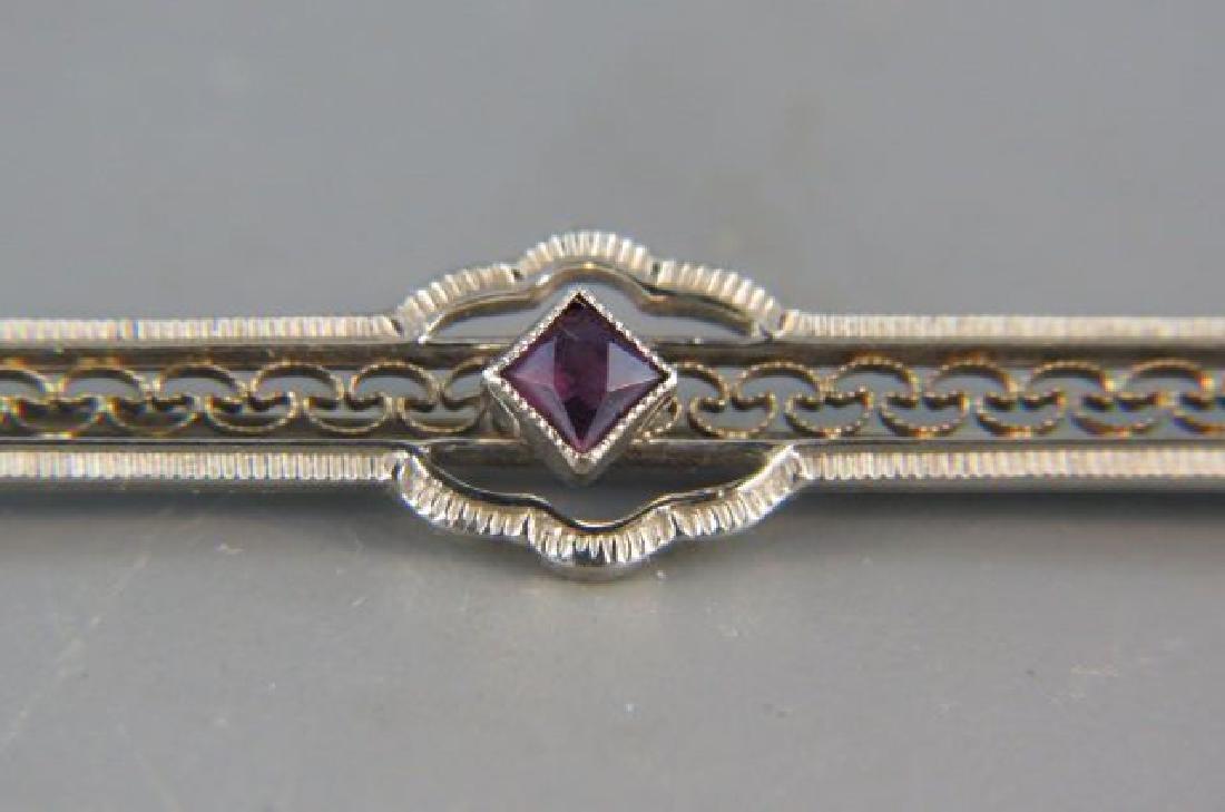 Amethyst 14K Gold Bar Pin, - 2