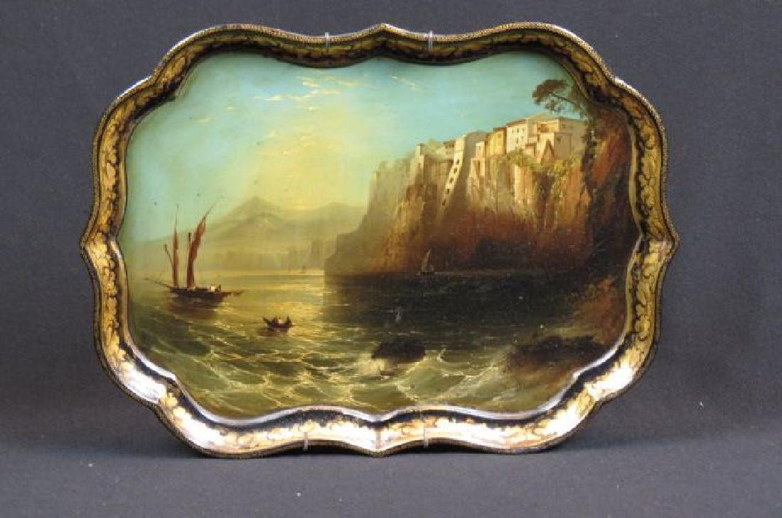 """19th Century Lacquerware Scenic Tray """"Sorrento,"""