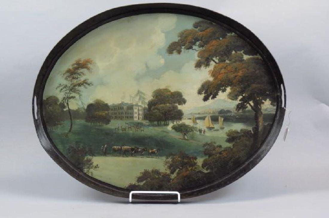 19th Century Tole Painted Tin Gallery Tray,