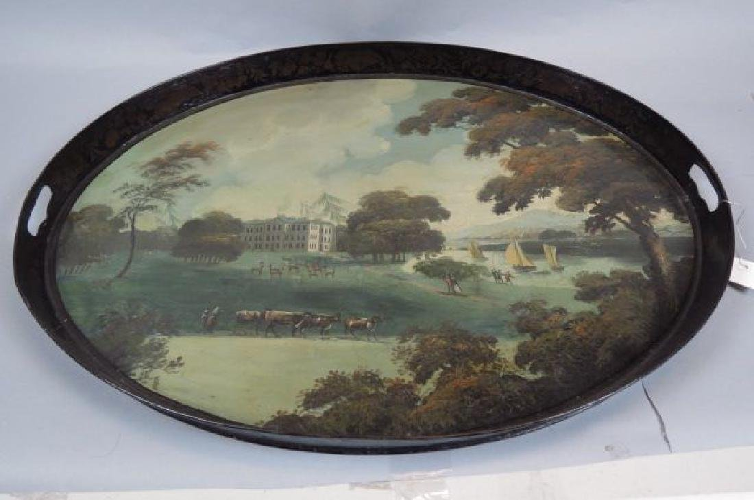 19th Century Tole Painted Tin Gallery Tray, - 4