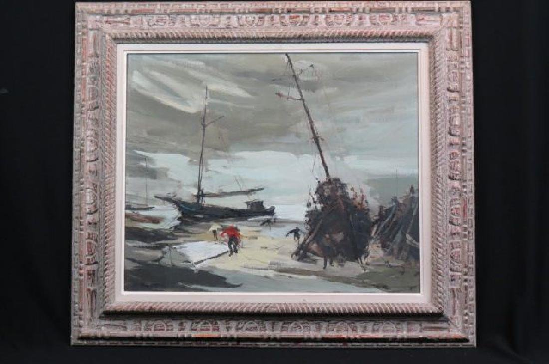 French Impressionist Oil of Fishermen & Boats,