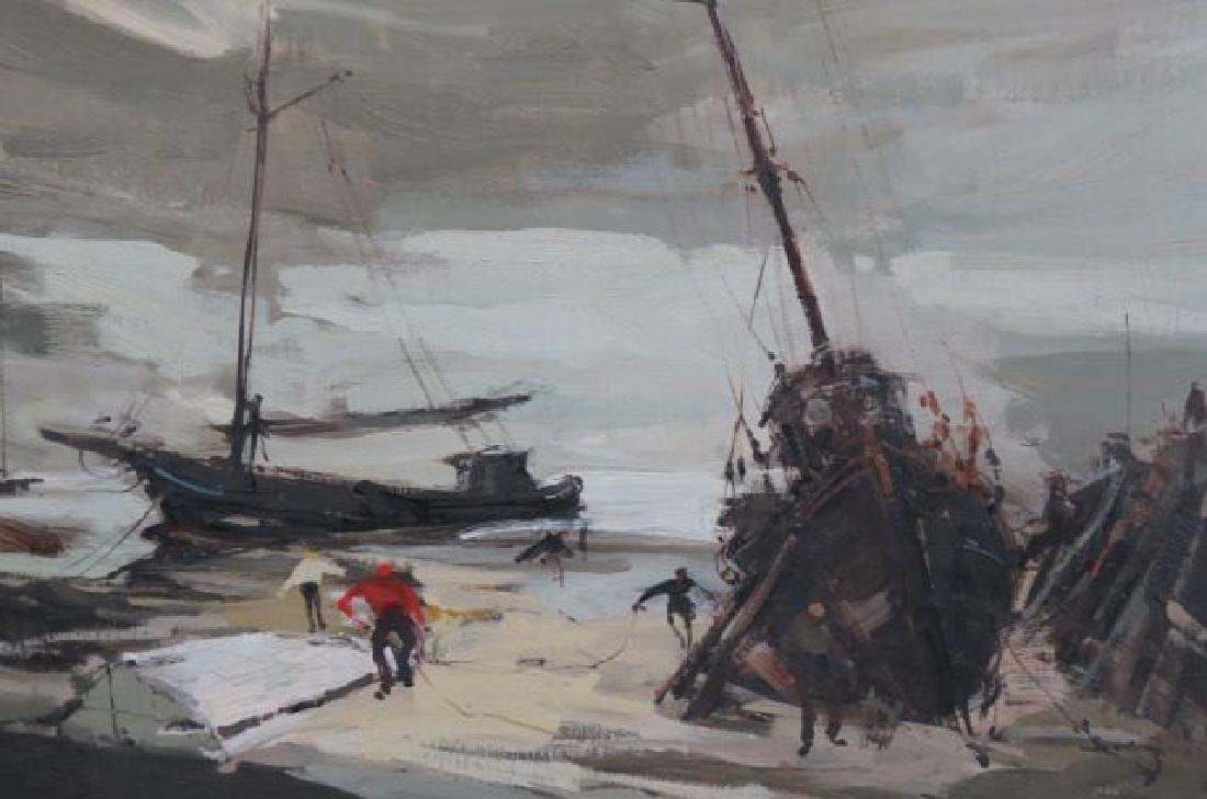 French Impressionist Oil of Fishermen & Boats, - 2