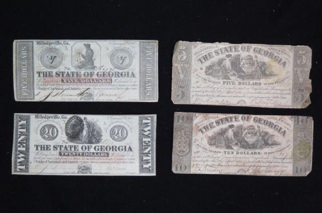4 pcs. Georgia Confederate Civil War Currency,