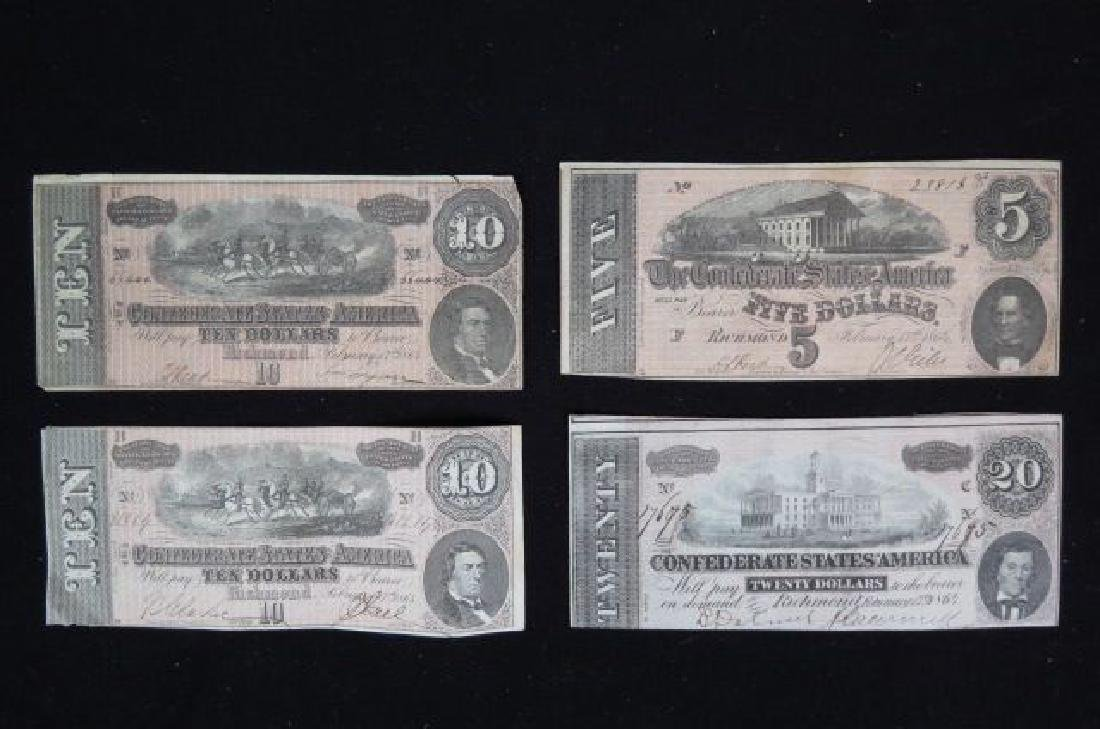4 pcs. Virginia Confederate Civil War Currency,