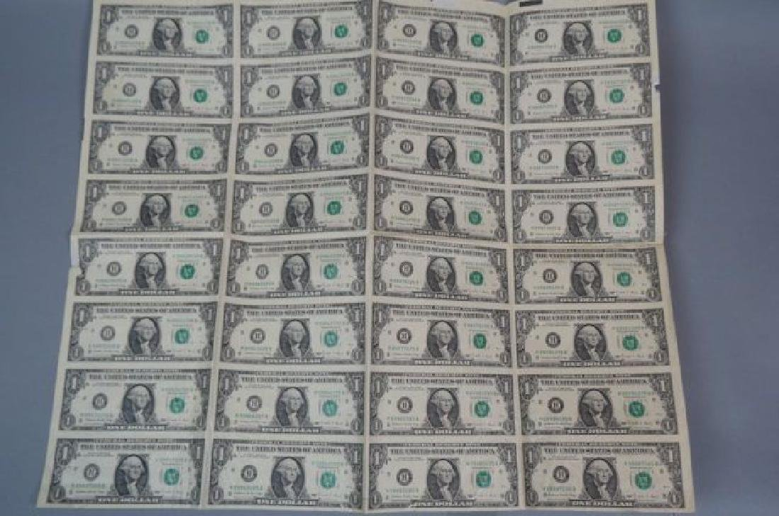1988 Uncut Sheet of 32 $1.00 Notes,