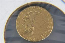1914D US 250 Indian Head Gold Coin