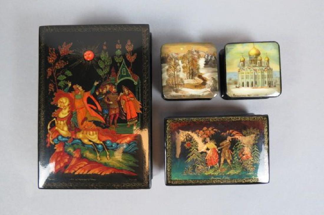 4 Russian Lacquerware Boxes,