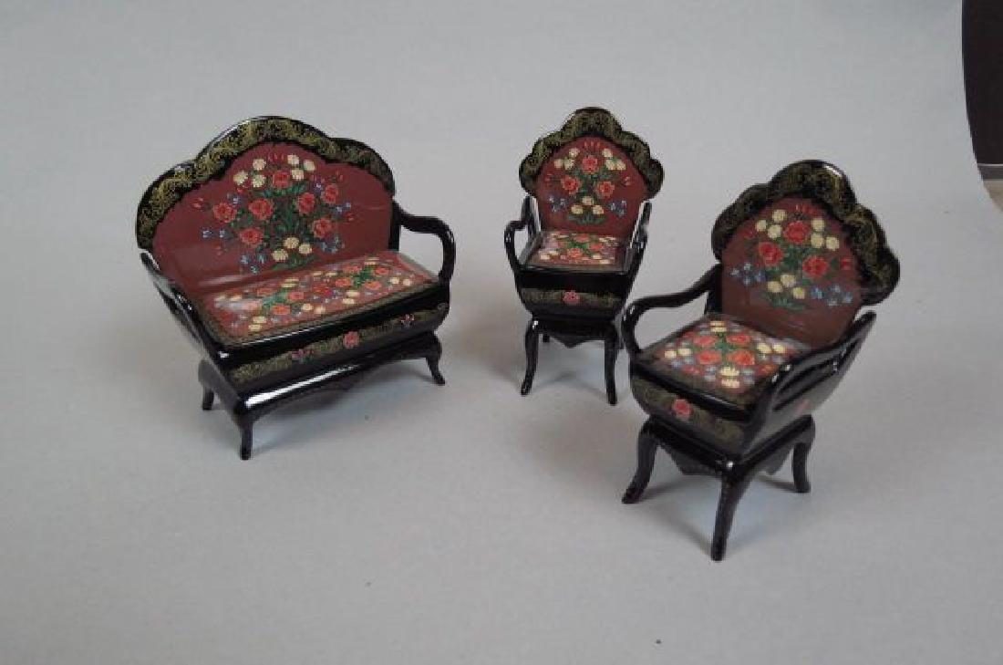 "3 pc. Russian Miniature Furniture Suite ""Boxes"","