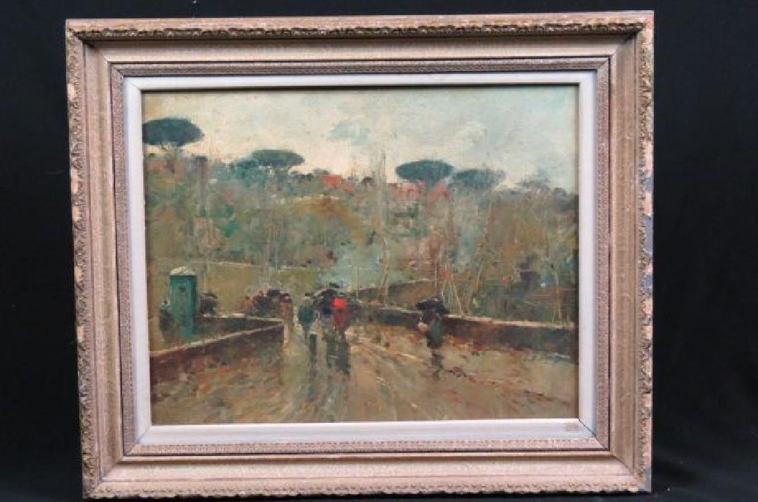 French Impressionist Oil,  rainy scene with