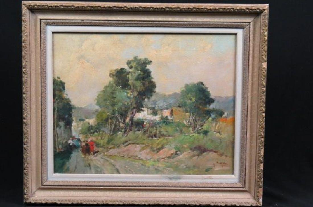 French Impressionist Oil, country village area