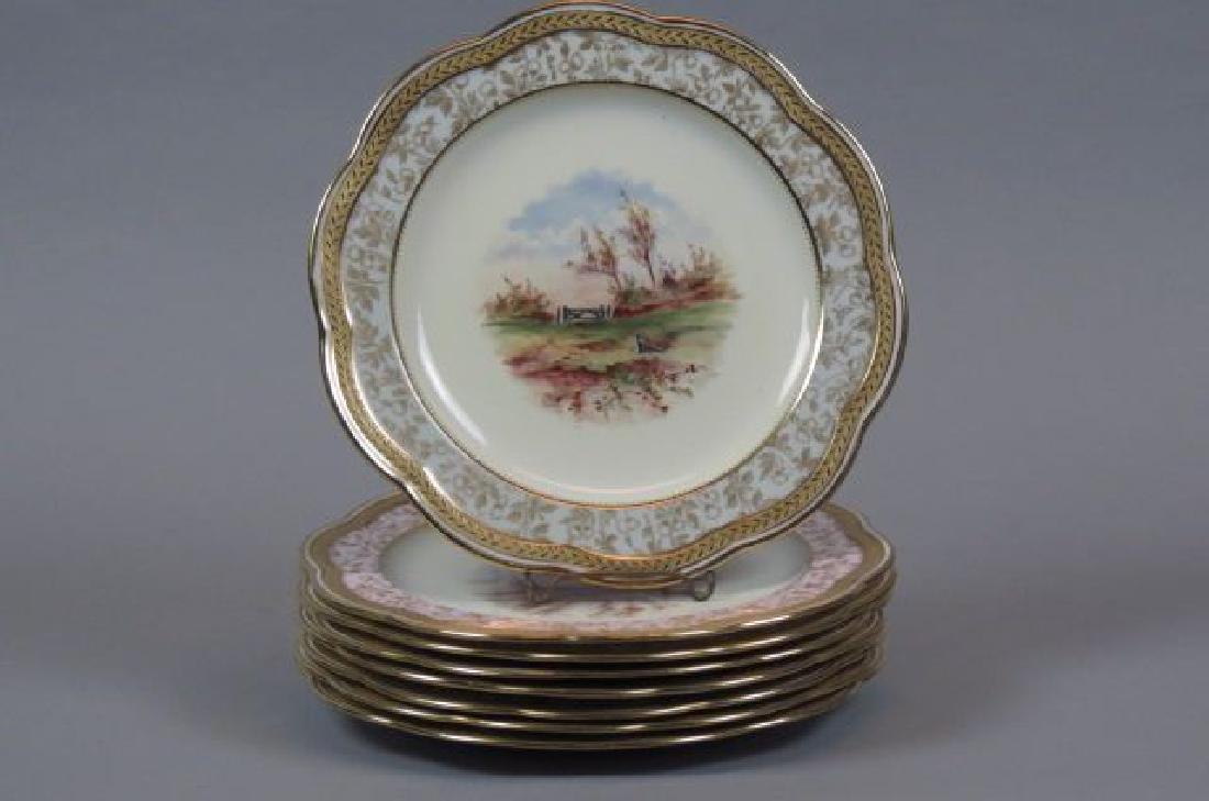 8 Wedgwood Handpainted Scenic Porcelain Plates,