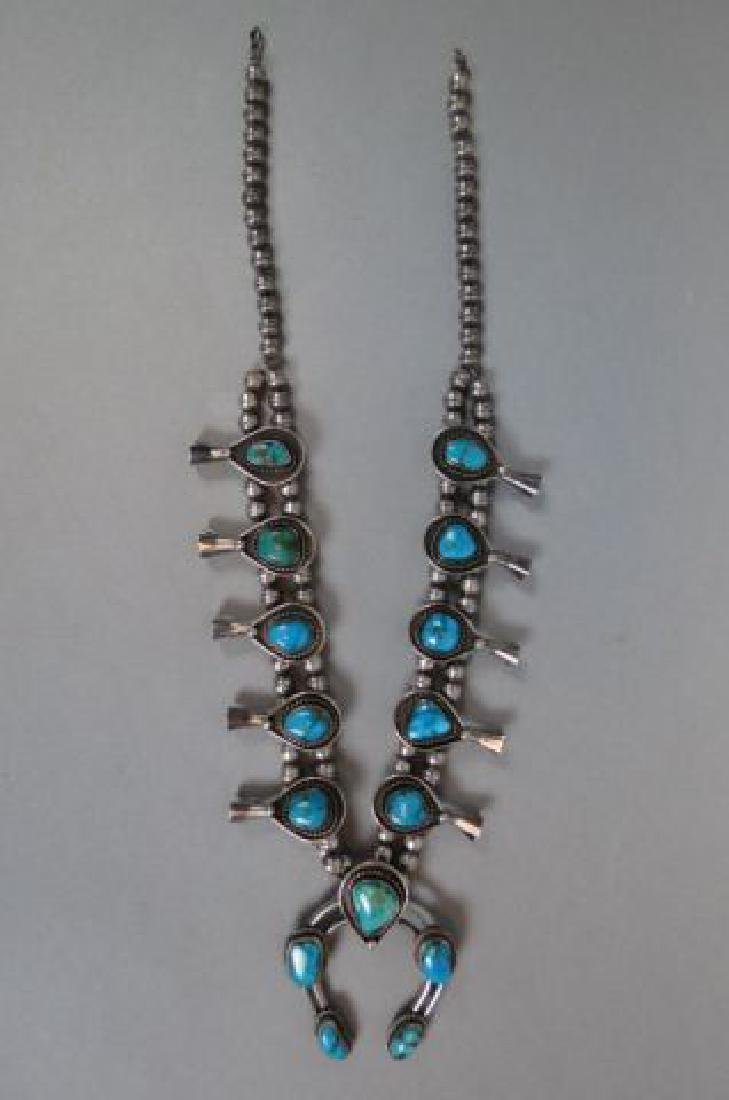 Indian Turquoise Sterling Squash Blossom Necklace,