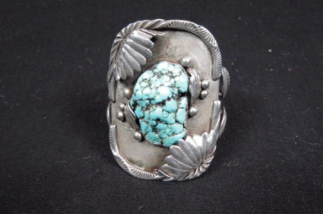 Indian Turquoise & Sterling Cuff Bracelet,