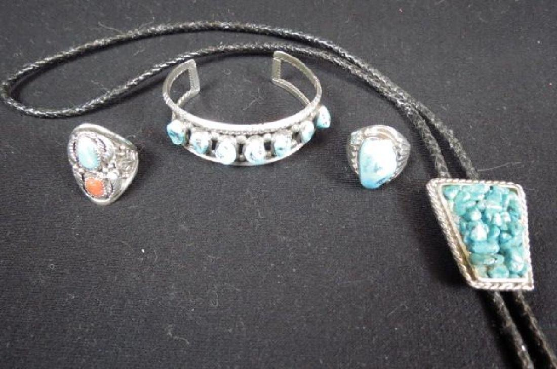 4 pcs. Indian Turquoise & Sterling Jewelry,