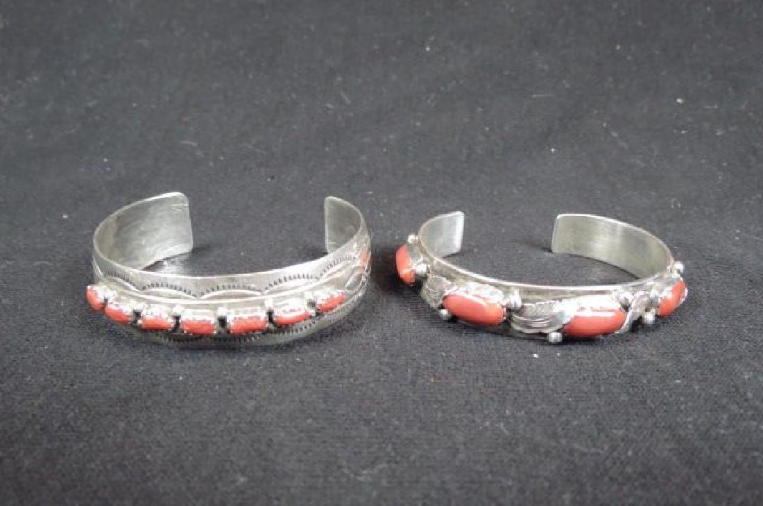 2 Indian Coral & Sterling Bracelets,