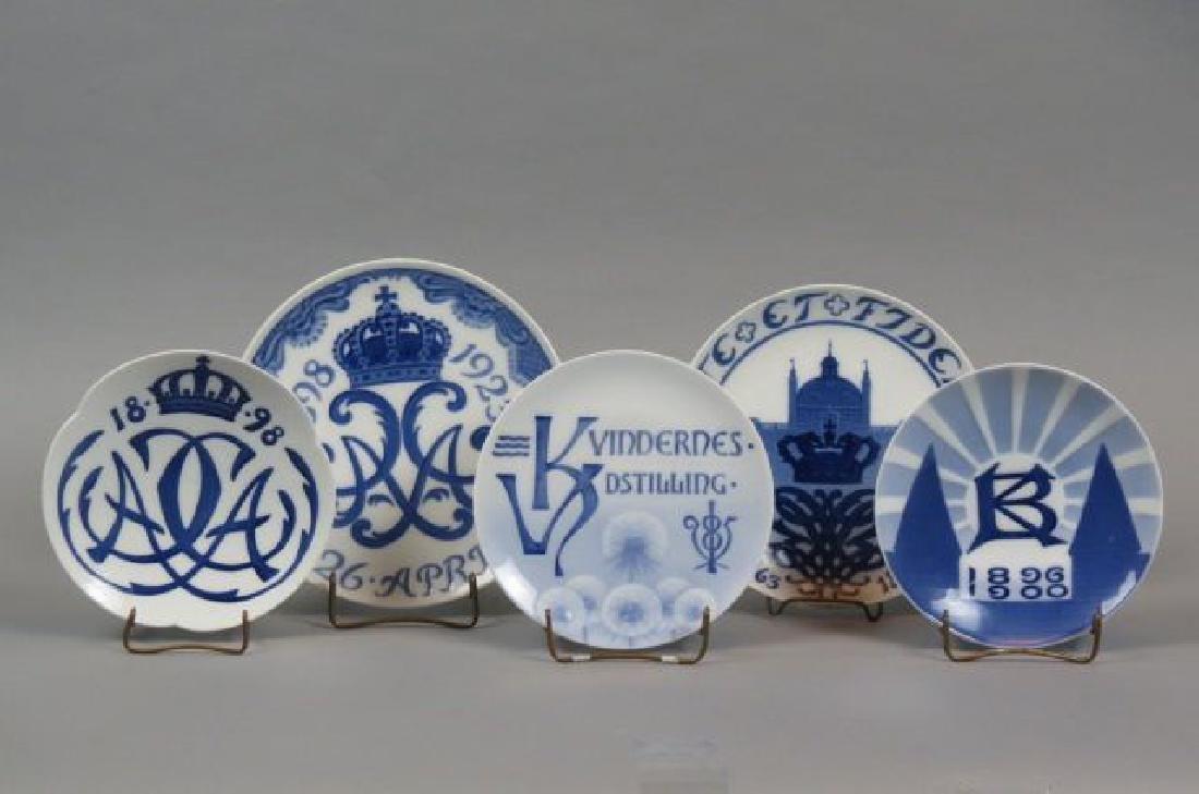 5 Early Danish Porcelain Plates,