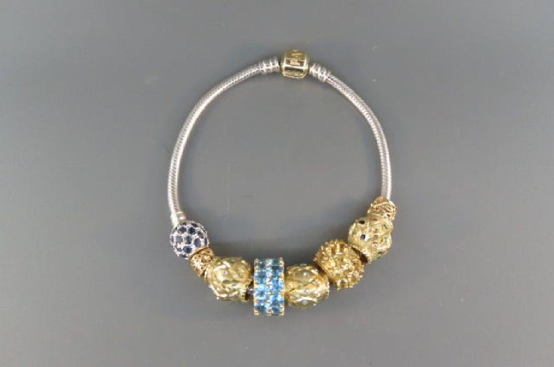 Pandora Gold & Sterling Bracelet with Charms,