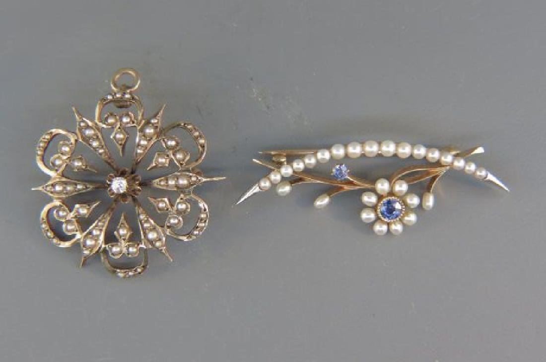 2 14K Gold Brooches,