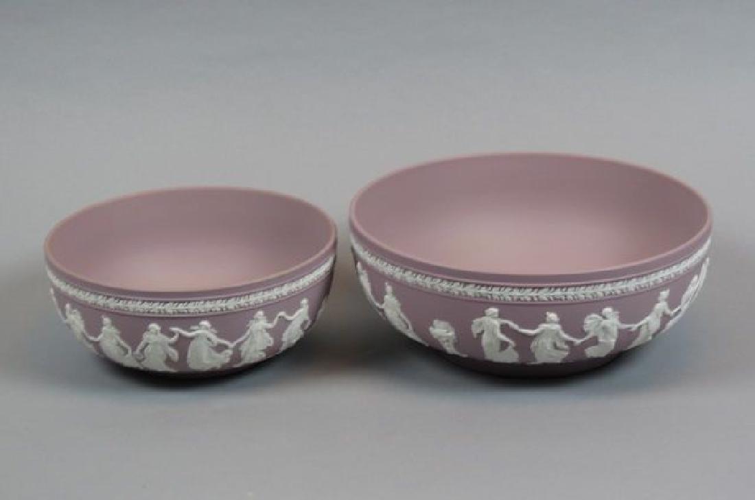 "2 Wedgwood Lilac Jasperware ""Dancing Hours"" Bowls,"