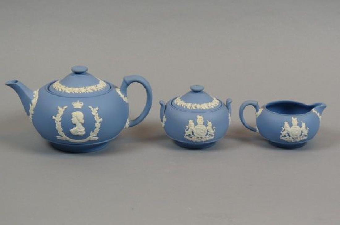 3 pc. Wedgwood Blue Jasperware Coronation Tea Set,