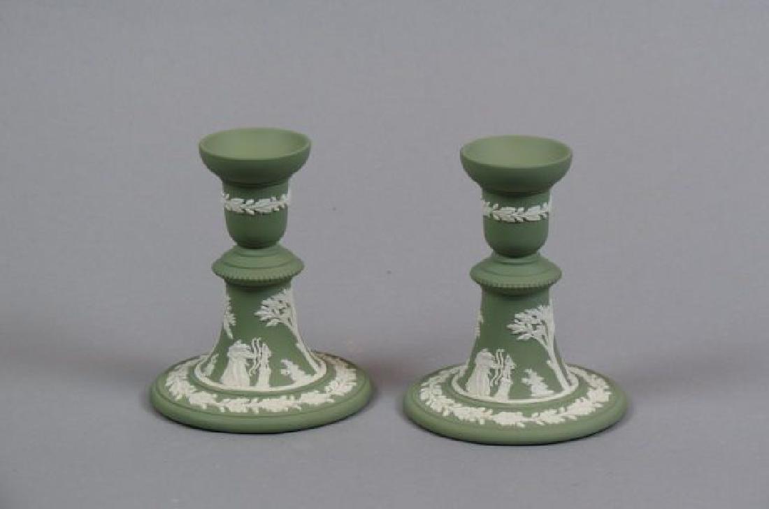 Pair of Wedgwood Green Jasperware Candlesticks,